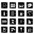 Painting set icons grunge style vector image vector image