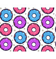 seamless texture with cute kawai colorful donut vector image vector image