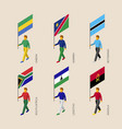 set of 3d isometric people with flags of africa vector image vector image