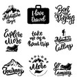 set of lettering motivation phrases with travel vector image vector image
