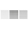 set of wavy horizontal lines border design vector image vector image