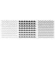set wavy horizontal lines border design vector image vector image