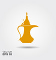 traditional arabic coffee pot flat icon vector image vector image