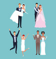 wedding cartoons set vector image