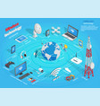 wireless technology infographic scheme on blue vector image vector image