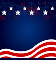 usa flag with fireworks design on blue background vector image
