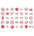 24 7 hour service icon set vector image
