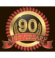 90 years anniversary golden label with ribbon vector image vector image