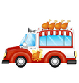 A vehicle selling fried chicken legs vector image