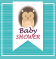 baby shower card with cute porcupine vector image vector image