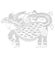 black and white unusual fantastic creature vector image vector image
