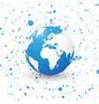 blue world globe on dotted background planet vector image vector image