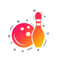 bowling game sign icon ball with pin skittle vector image