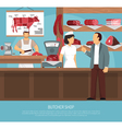 Butcher Meat Shop Flat Poster vector image vector image