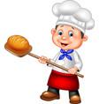 Cartoon baker holding bakery peel tool with bread