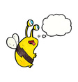 cartoon funny bee with thought bubble vector image vector image
