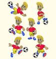 cartoon soccer player cartoon set vector image vector image