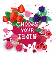 choose your taste banner berries collection cafe vector image