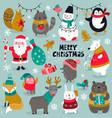 christmas collection santa snowman vector image