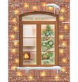christmas interiot through window vector image vector image
