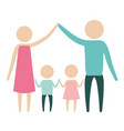 color silhouette pictogram parents holding hands vector image vector image
