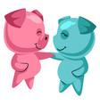 couple cute pigs in love on white background vector image