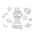 cute astronaut and astronomy doodle for kids vector image vector image