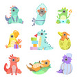 cute colorful little dinos set adorable baby vector image vector image