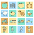Farm icons set flat line vector image vector image
