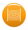 fence with metal square icon orange vector image