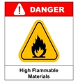Fire warning sign in yellow triangle High vector image vector image