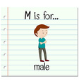 Flashcard letter M is for male vector image vector image