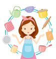 Girl With Kitchen Equipments vector image vector image