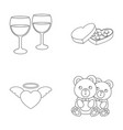 glasses with wine chocolate hearts bears vector image vector image