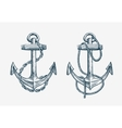 hand drawn nautical anchor Vintage sketch vector image