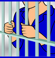 hands holding prison bars hand behind prison vector image