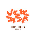 Infinity symbol logo from juicy orange tangerine vector image vector image