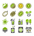 kiwi icon set vector image vector image