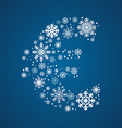 Letter font frosty snowflakes vector image