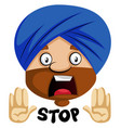 muslim human emoji with stop expression on white vector image