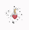 mystical sacred heart symbol esoteric magic space vector image
