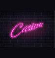 neon casino poker card sign brick wall vector image vector image