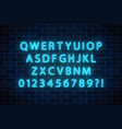 neon style font glowing neon alphabet letters on vector image