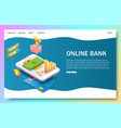 online bank landing page website template vector image