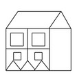 outline big house with square windows and roof vector image vector image