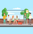 people waiting for a bus vector image vector image