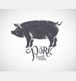 pig in silhouette style pork label drawn hand vector image
