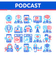 podcast and radio collection icons set vector image