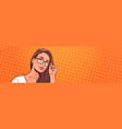 portrait beautiful woman wearing glasses over vector image vector image