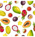 seamless pattern with exotic tropical fruits vector image vector image